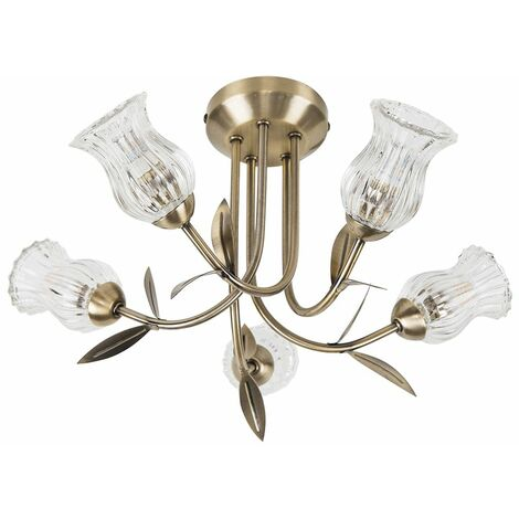 5 Way Antique Brass Curved Arm Ceiling Light with Glass Shades