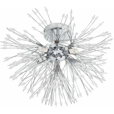 5 Way Chrome & Clear Dispersed Acrylic Crystal Bead Ceiling Pendant