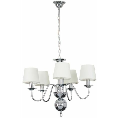 5 Way Flemish Chandelier In Chrome With Cream Shades + 4W LED Filament Candle Bulbs Warm White