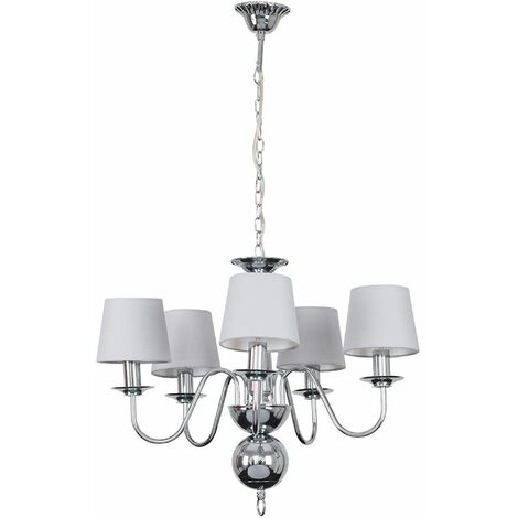 5 Way Flemish Chandelier In Chrome With Grey Shades + 4W LED Filament Candle Bulbs Warm White