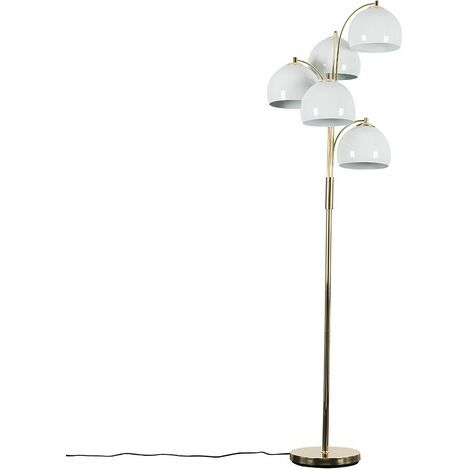 5 Way Gold Floor Lamp With White Dome Shades 4W LED Golfball Bulbs Warm White