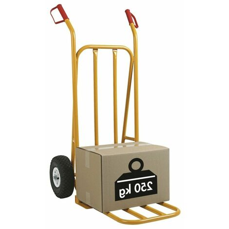 5 X (1 DIABLE ROUES GONFLABLES) Diable acier 250 kg BAVETTE FIXE BLEU 520 x 540 x 1070mm
