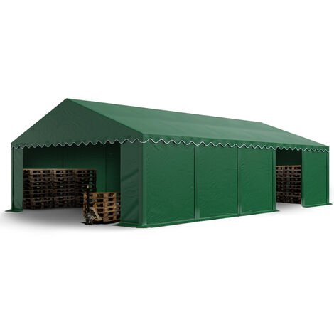 5 x 10 m Heavy Duty PVC Storage Tent Shed Temporary Shelter Fabric Warehouse Building with Galvanized Steel Construction in darkgreen