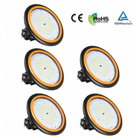 5 x 150W 22000LM LED High Bay Low Bay Light Commercial Ceiling Industrial Light UFO IP65 Natural White for Warehouse Workshops