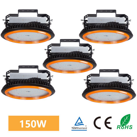 5 x 150W 22000LM LED High Bay Low Bay Light Commercial Ceiling Industrial Light UFO IP65 White for Warehouse Workshops