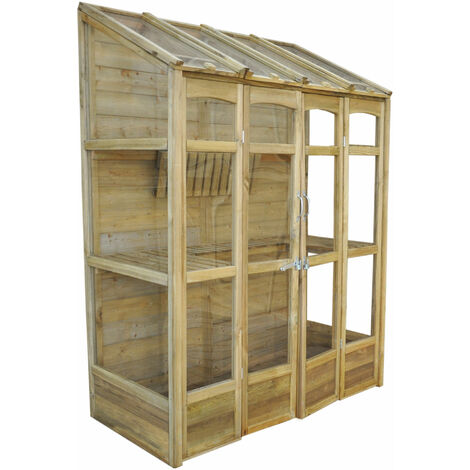 5' x 2' Forest Cofton Wooden Small Wall Lean To Mini Greenhouse (1.5x0.6m)