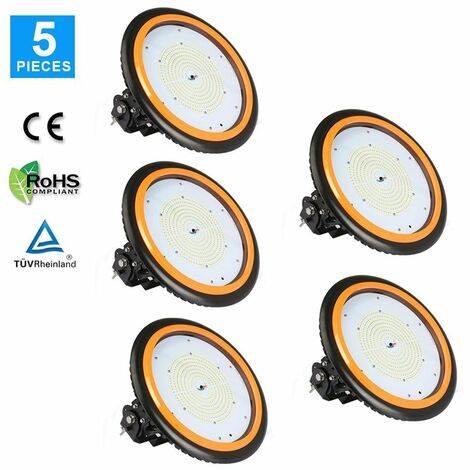 5 x 200W 26000LM LED High Bay Low Bay Light Commercial Ceiling Industrial Light UFO IP65 Natural White for Warehouse Workshops