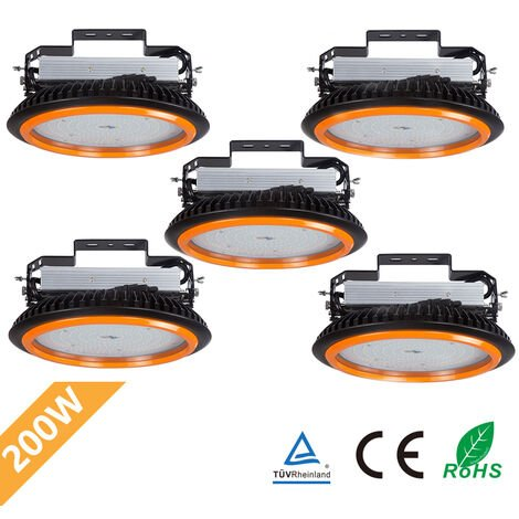 5 x 200W 26000LM LED High Bay Low Bay Light Commercial Ceiling Industrial Light UFO IP65 White for Warehouse Workshops