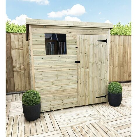 5 x 4 Pressure Treated Tongue And Groove Pent Shed With 1 Window + Single Door + Safety Toughened Glass