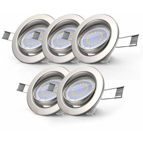 5 x 5,5W LED Focos empotrables GU10 I Reflector giratorio y regulable en 3 niveles I blanco cálido 3000K 400lm I Downlight IP23