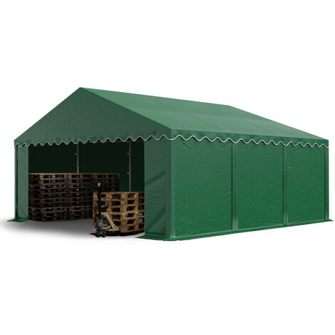 5 x 6 m Heavy Duty PVC Storage Tent with GROUNDBAR Shed Temporary Shelter Fabric Warehouse Building with Galvanized Steel Construction in darkgreen