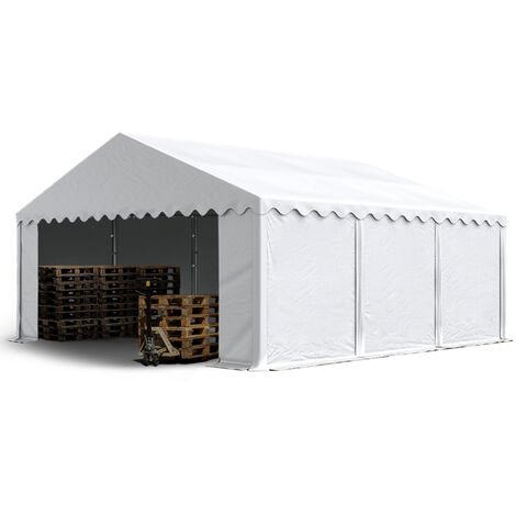 5 x 6 m Heavy Duty PVC Storage Tent with GROUNDBAR Shed Temporary Shelter Fabric Warehouse Building with Galvanized Steel Construction in white