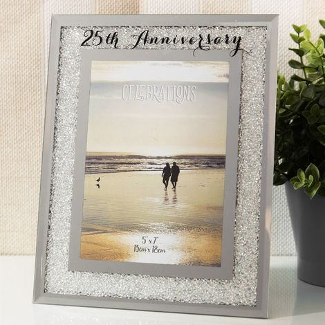 5' x 7' - Celebrations Crystal Frame - 25th Anniversary
