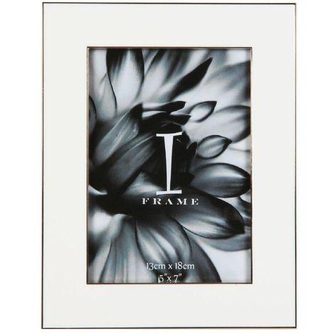 "5"" x 7"" - iFrame Die Cast White Photo Frame - Gold Border"