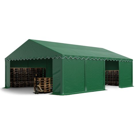 5 x 8 m Heavy Duty PVC Storage Tent Shed Temporary Shelter Fabric Warehouse Building with Galvanized Steel Construction in darkgreen