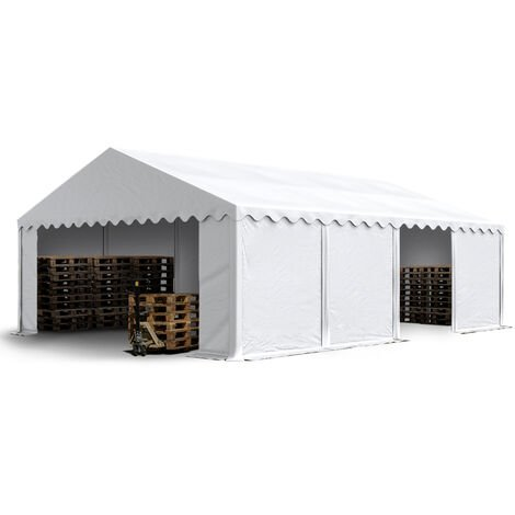 5 x 8 m Heavy Duty PVC Storage Tent Shed Temporary Shelter Fabric Warehouse Building with Galvanized Steel Construction in white