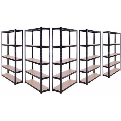 5 x Black Metal 5 Tier Garage Shelves Shelving Unit Racking Storage 180x90x30cm