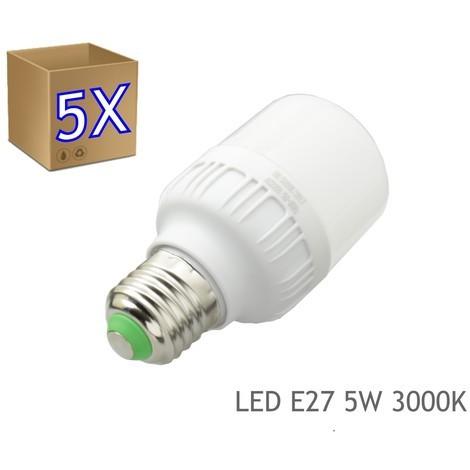 5 x Bombilla LED 5W rosca E27 luz 3000K blanco calido