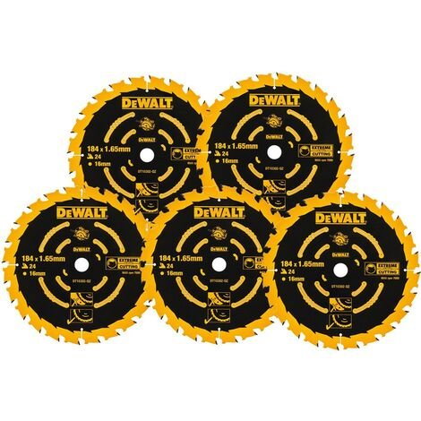 5 x Dewalt DT10302 Circular Saw Blades 184 x 16 x 24T Extreme Framing DWE560