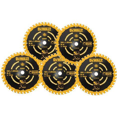 5 x Dewalt DT10303 Circular Saw Blades 184 x 16 x 40T Extreme Framing DWE560