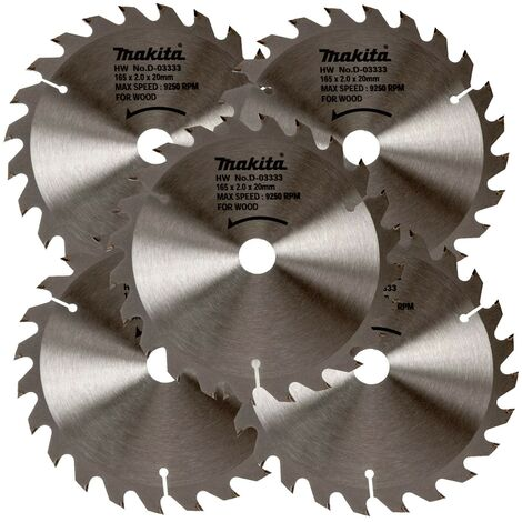 5 x Makita D-03333 Circular Saw Blade 165 X 20 24 Teeth - DSS611 DSS610 DHS680