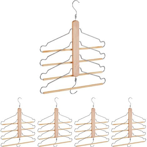 5 x Multi Clothes Hanger, Holder with 4 Flexible Coat Hangers, Wardrobe Organiser, Metal Hooks, Lotus Wood, Natural