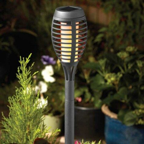 5 x Smart Garden Slate Grey Solar Party Flaming Torch Light Stake Lantern LED
