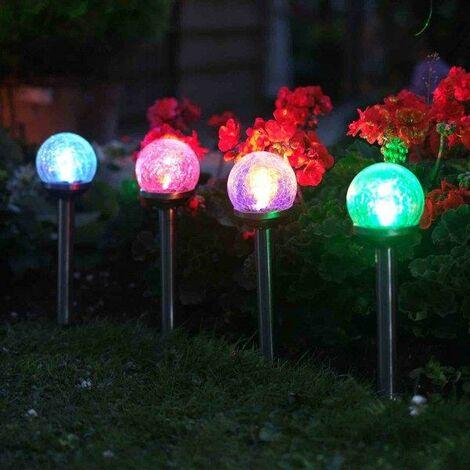 "main image of ""5 x Smart Garden Solar Colour Changing Rainbow Crackle Globe Orb Garden Lights"""