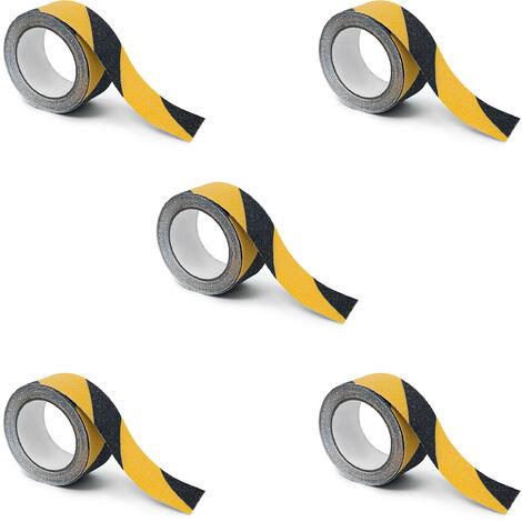 5 x Warn-Klebeband 50 mm, Rutschfestes Strukturband, Antirutschband 5 m, Wasserfest, Für Innen- und Außenbereich, gelb / schwarz