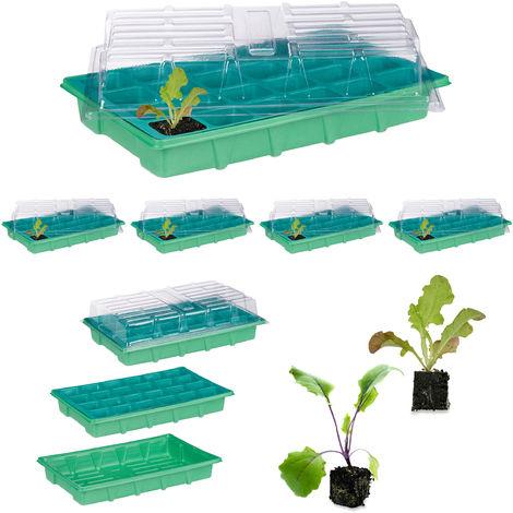 5 x Zimmergewächshaus je 24 Pflanzen, Deckel, Mini Gewächshaus, Fensterbank, Balkon, Anzuchtschale 38 x 24,5 cm, grün