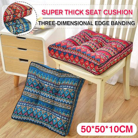 50 * 50 * 8cm Cotton Plain Floor Cushion Dining Room Booster Chair Seat Cushion Home Office Chair Cushion Soft Comfortable Cushion (Red, 50x50x10cm)