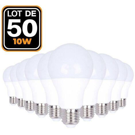 50 Ampoules LED E27 10W Blanc chaud 2700K Haute Luminosité
