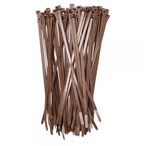50 bridas de nylon marrón para sujeción