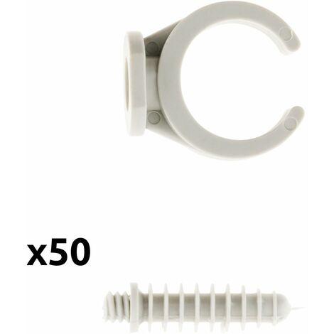 50 Clips avec chevilles Ø16, 20 ou 25 mm