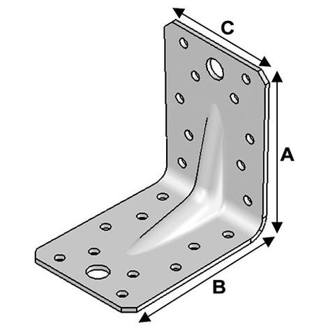 50 équerres INOX avec renforts (H x L x l x ép) 90 x 90 x 65 x 2,5 mm - AL-ER09090629 - Alsafix