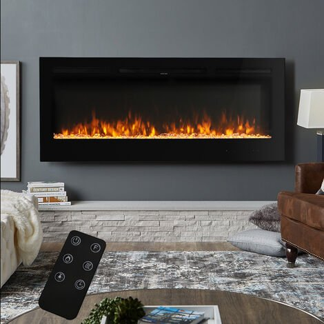 50 Inch Led Electric Fireplace Wall Mounted Living Room Heater 9 Flame Colours