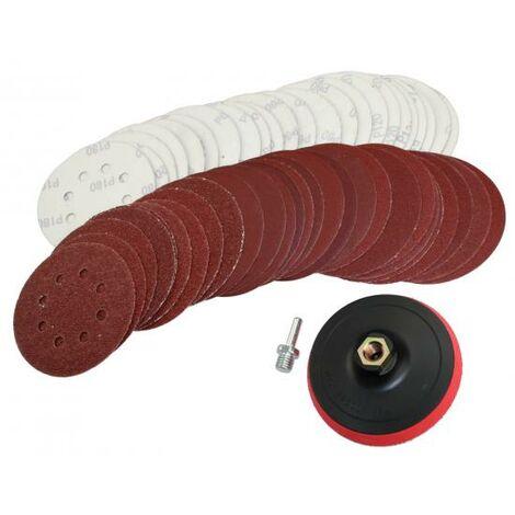 50 Klett Schleifscheiben 125 mm Mix 8 Loch + Schleifteller