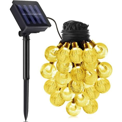 """main image of """"50 LED 31-foot crystal spherical solar string outdoor with 8 modes for outdoor Christmas tree garden terrace party outdoor durable solar-powered waterproof fairy lamp decoration (warm white)"""""""