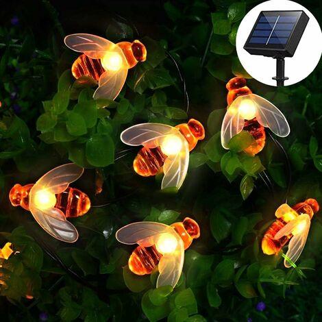 [50 LED] Luces solares de jardín, cadena de luces de hada de abeja de miel, 7 m, 8 modos, impermeable, iluminación de jardín interior/exterior para valla de flores, césped, patio, vacaciones (blanco cálido) [Clase de eficiencia energética A++]