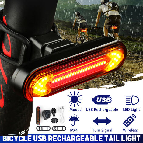 50 Lumens USB Wireless Rechargeable Remote Control Turn Signal Bike Tail Light (Black, Black Aluminum White Shell)