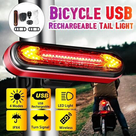 50 Lumens USB Wireless Rechargeable Remote Control Turn Signal Bike Tail Light (Red, Red Aluminum Gray Shell)