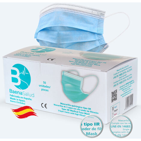 50 Mascarillas higiénicas mascarillas Quirúrgicas desechables, Tipo IIR, en color azul, filtración (BFE) 98%, hechas en España