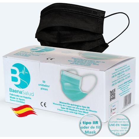 50 Mascarillas higiénicas mascarillas Quirúrgicas desechables, Tipo IIR, en color negro, filtración (BFE) 98%, hechas en España