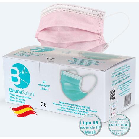 50 Mascarillas higiénicas mascarillas Quirúrgicas desechables, Tipo IIR, en color rosa, filtración (BFE) 98%, hechas en España