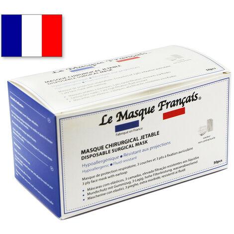 50 Masques Chirurgicaux Jetables Blancs Fabriques en France Le Masque Français MASQUETYPEIIR