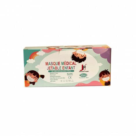 50 Masques chirurgicaux jetables pour Enfants : Type 2 - 98 % de filtration