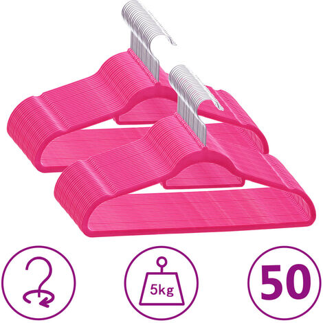 50 pcs Clothes Hanger Set Anti-slip Pink Velvet