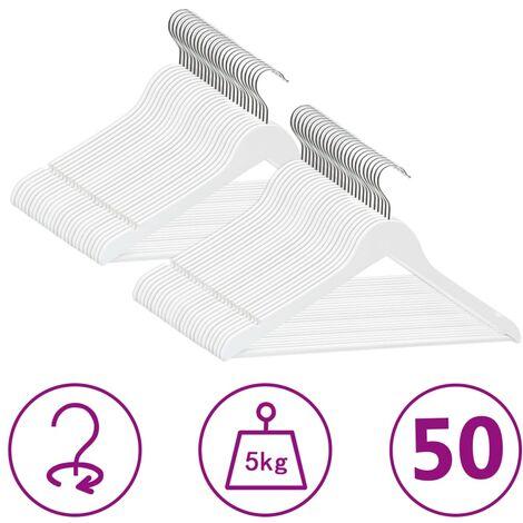 50 pcs Clothes Hanger Set Non-slip White Hardwood
