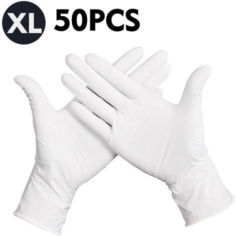 50 Pcs/Disposable Gloves Thick Powder-Free Rubber Latex Stretchy Gloves Sterile Food Safe Grade, White, XL