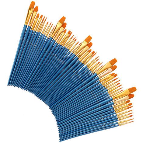 50 Pcs Nylon Peinture Cheveux Pinceaux Artiste Paintbrush Lot Multiples Mediums Brosses Pour L'Huile Aquarelle Gouache Peinture Fournitures Grand Art Dessin